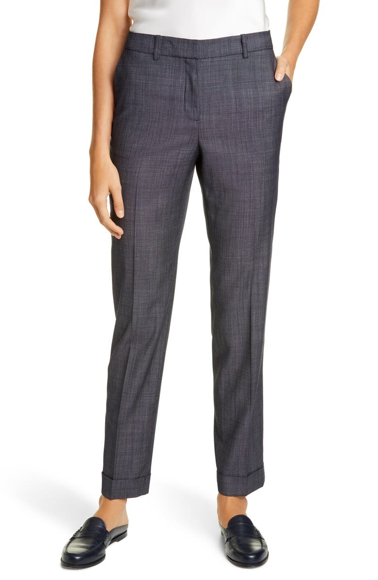 LAFAYETTE 148 NEW YORK Clinton Cuffed Wool Blend Pants, Main, color, 400