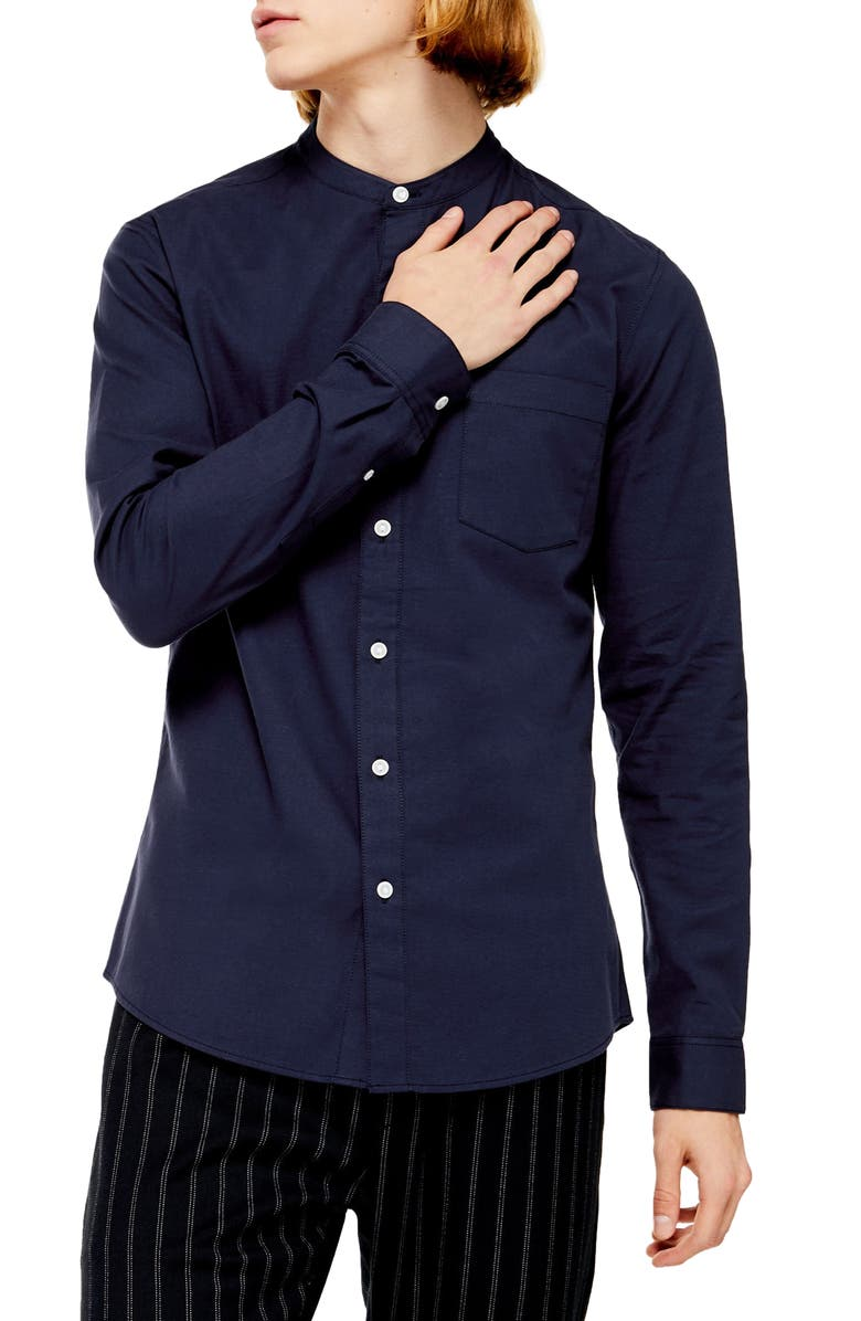 TOPMAN Slim Fit Band Collar Oxford Button-Up Shirt, Main, color, NAVY BLUE