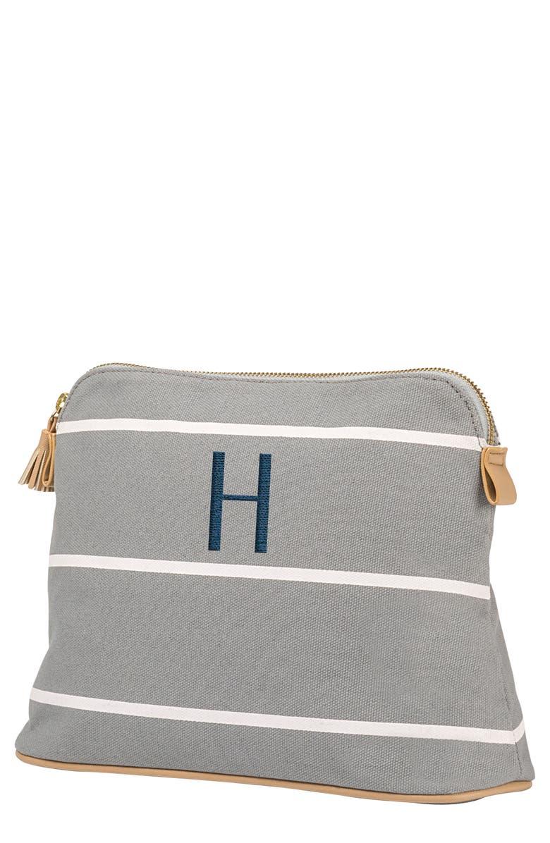 CATHY'S CONCEPTS Monogram Cosmetics Bag, Main, color, GREY H