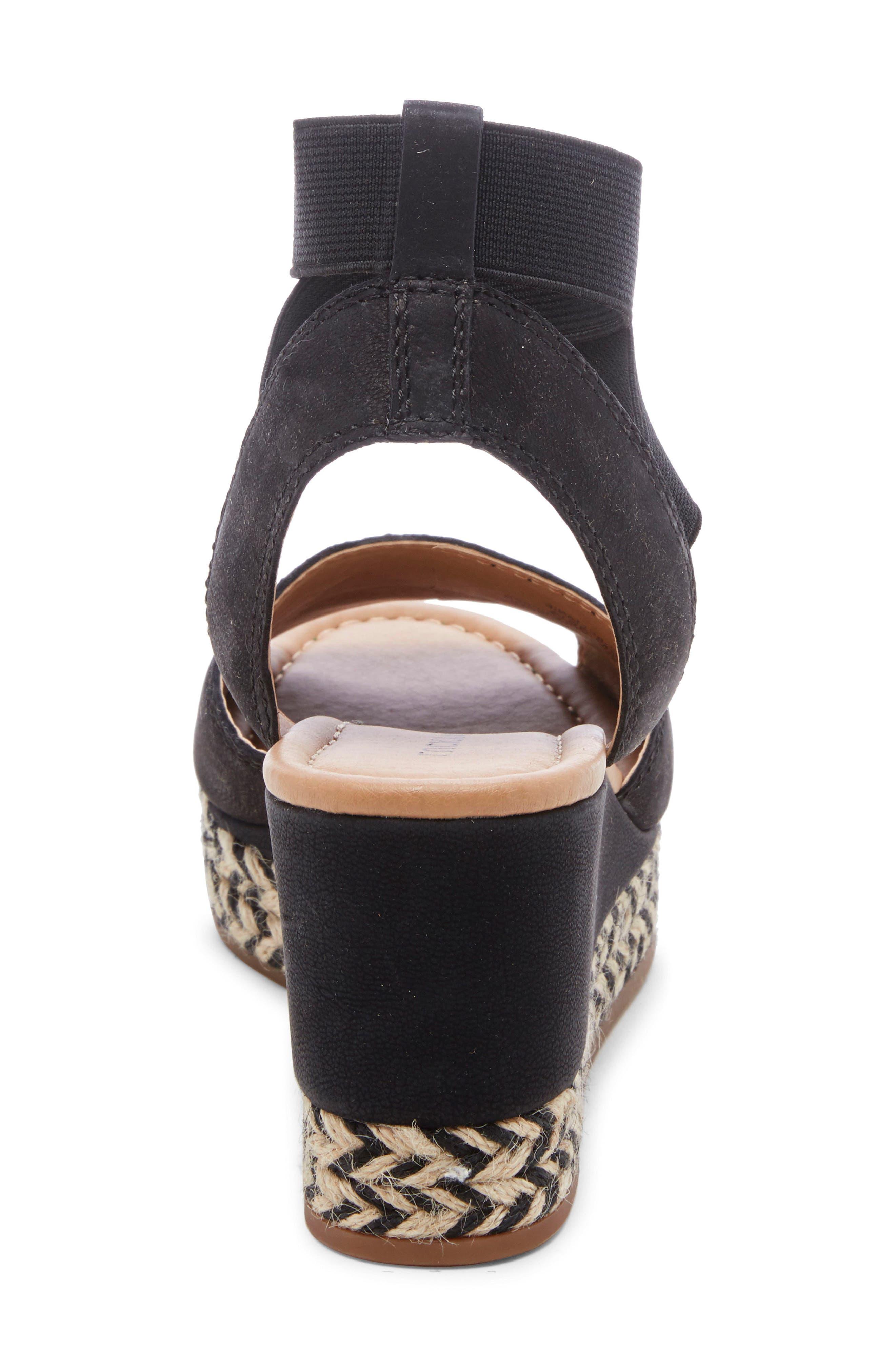 ,                             Bettanie Espadrille Wedge Sandal,                             Alternate thumbnail 7, color,                             BLACK LEATHER