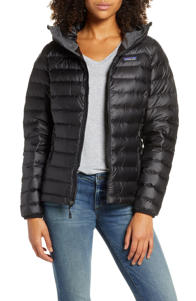 PATAGONIA Quilted Water Resistant Down Coat, Main, color, BLACK