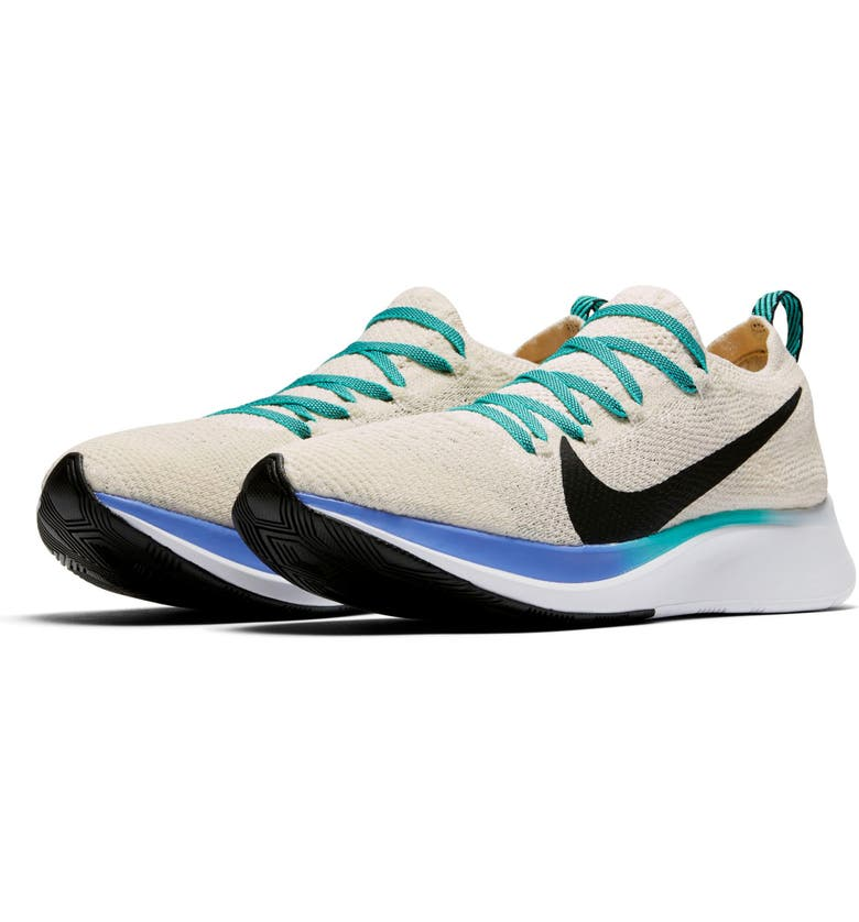 NIKE Zoom Fly Flyknit Running Shoe, Main, color, CREAM/ BLACK/ JADE/ SAPPHIRE