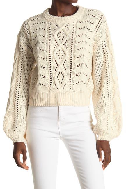 Image of Lush Pointelle Balloon Sleeve Sweater