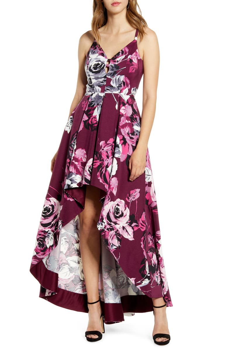 SPEECHLESS Lace Back Floral Print High/Low Dress, Main, color, PLUM GREY