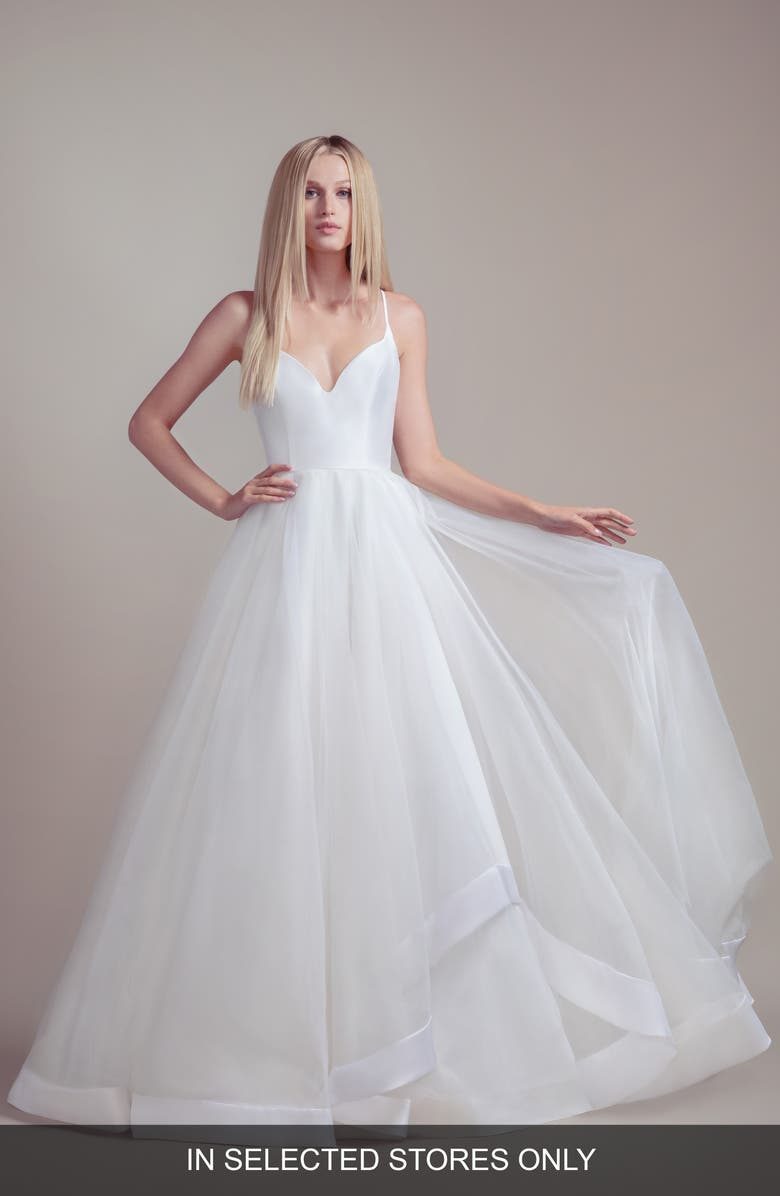 BLUSH BY HAYLEY PAIGE Drai Tulle Wedding Dress, Main, color, WHITE