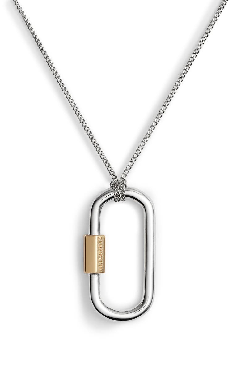 ALLSAINTS Carabiner Pendant Necklace, Main, color, SILVER/ GOLD