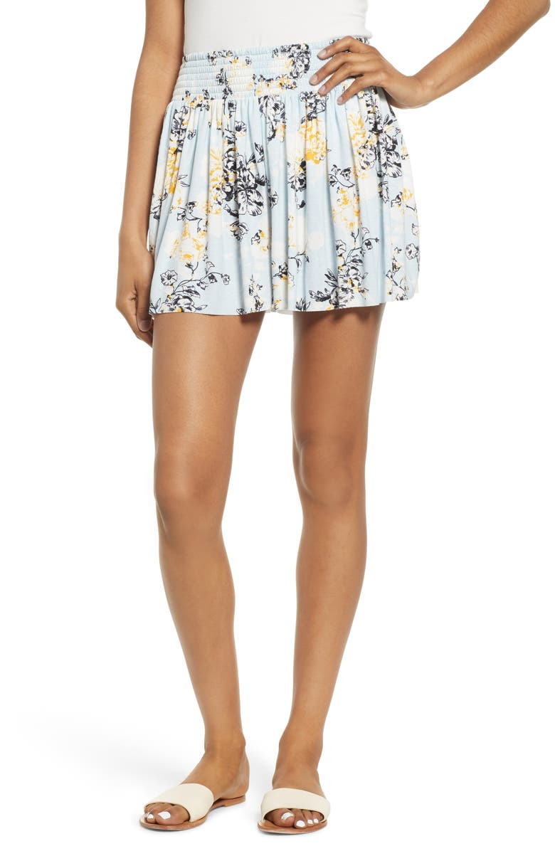 BP. Smocked Waist Print Shorts, Main, color, BLUE DRIFT DETAIL FLORAL