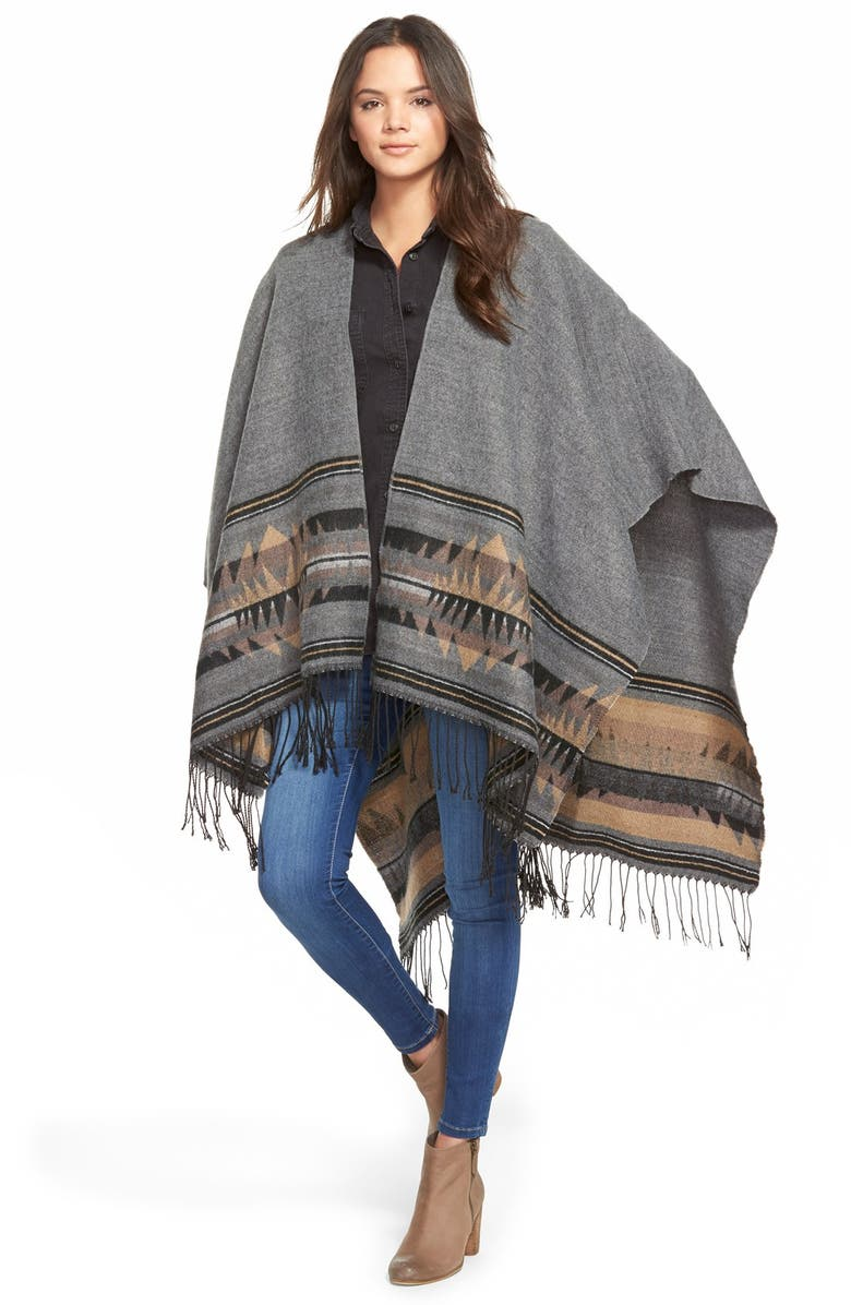 BP. 'Wanderlust' Blanket Poncho, Main, color, 001