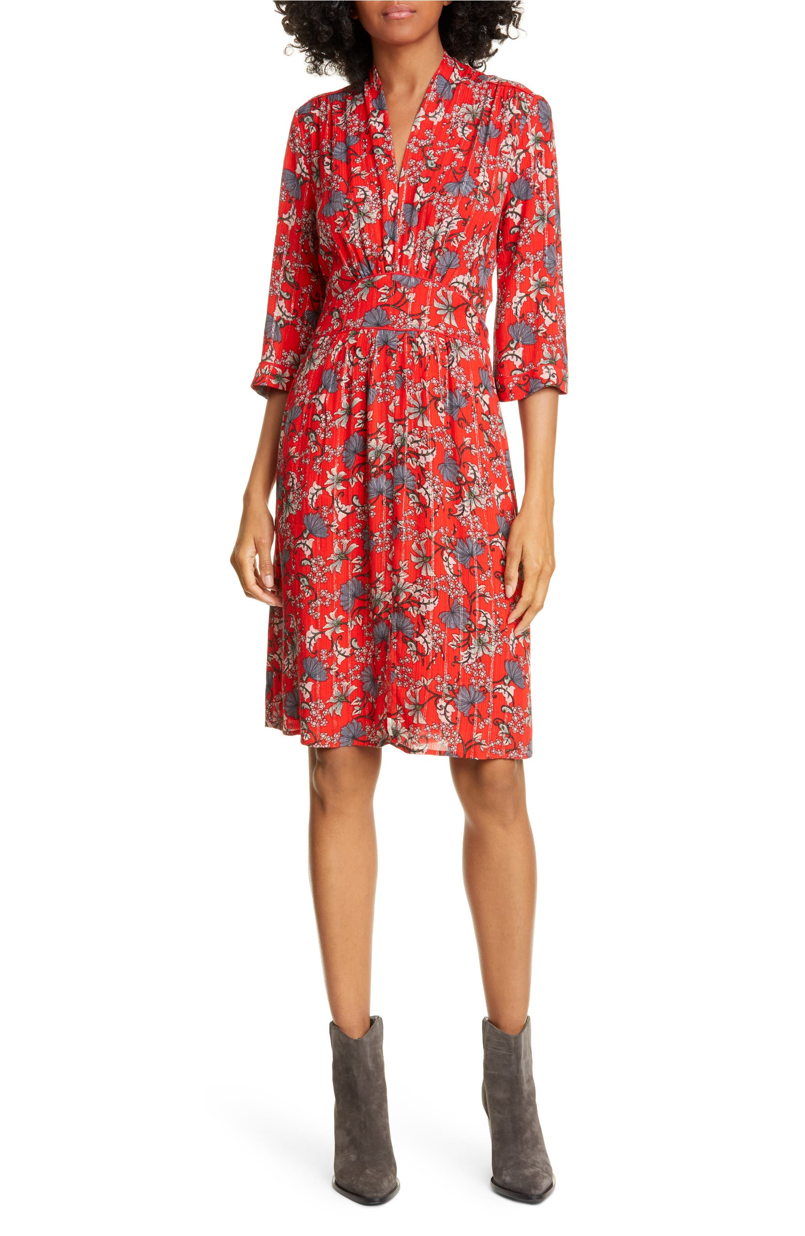 4e80a7e0bc462 Clotilde Floral Print & Metallic Stripe Dress