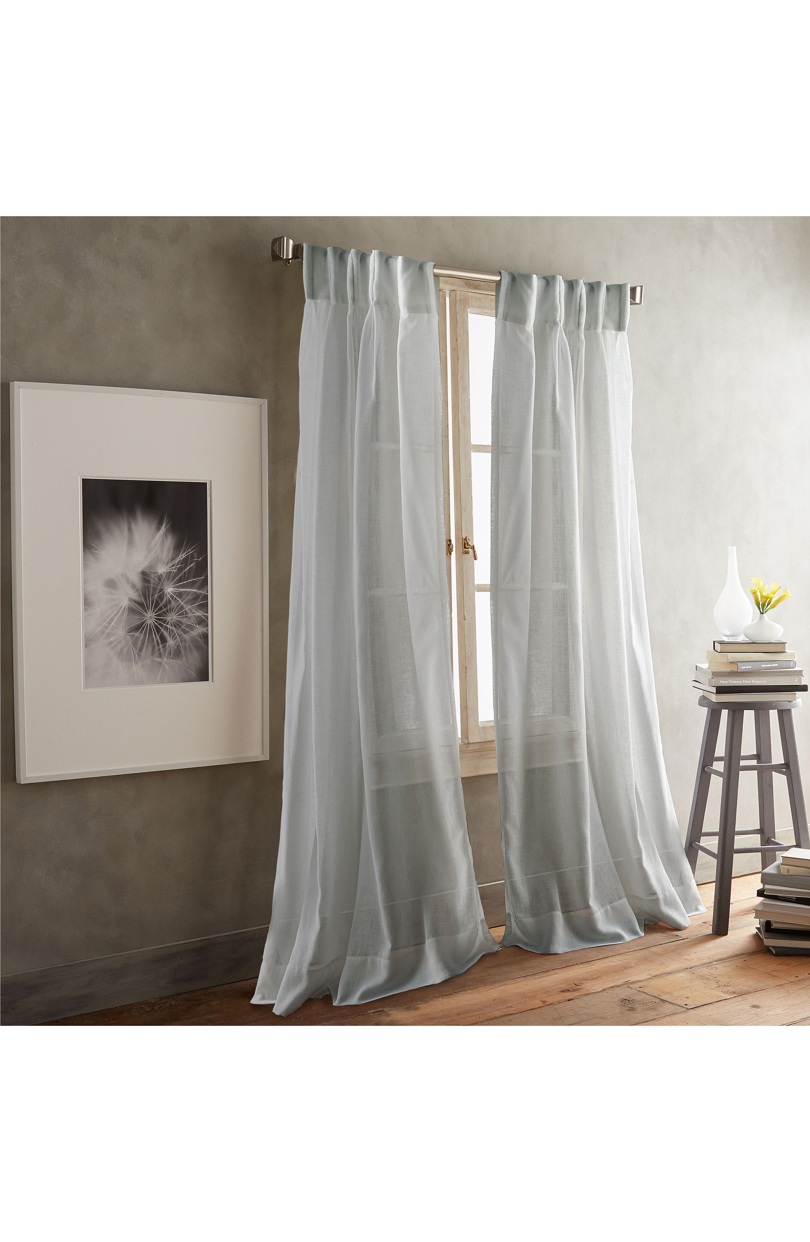 Paradox Inverted Pleat Back Tab Set of 2 Window Panels, Main, color, SILVER