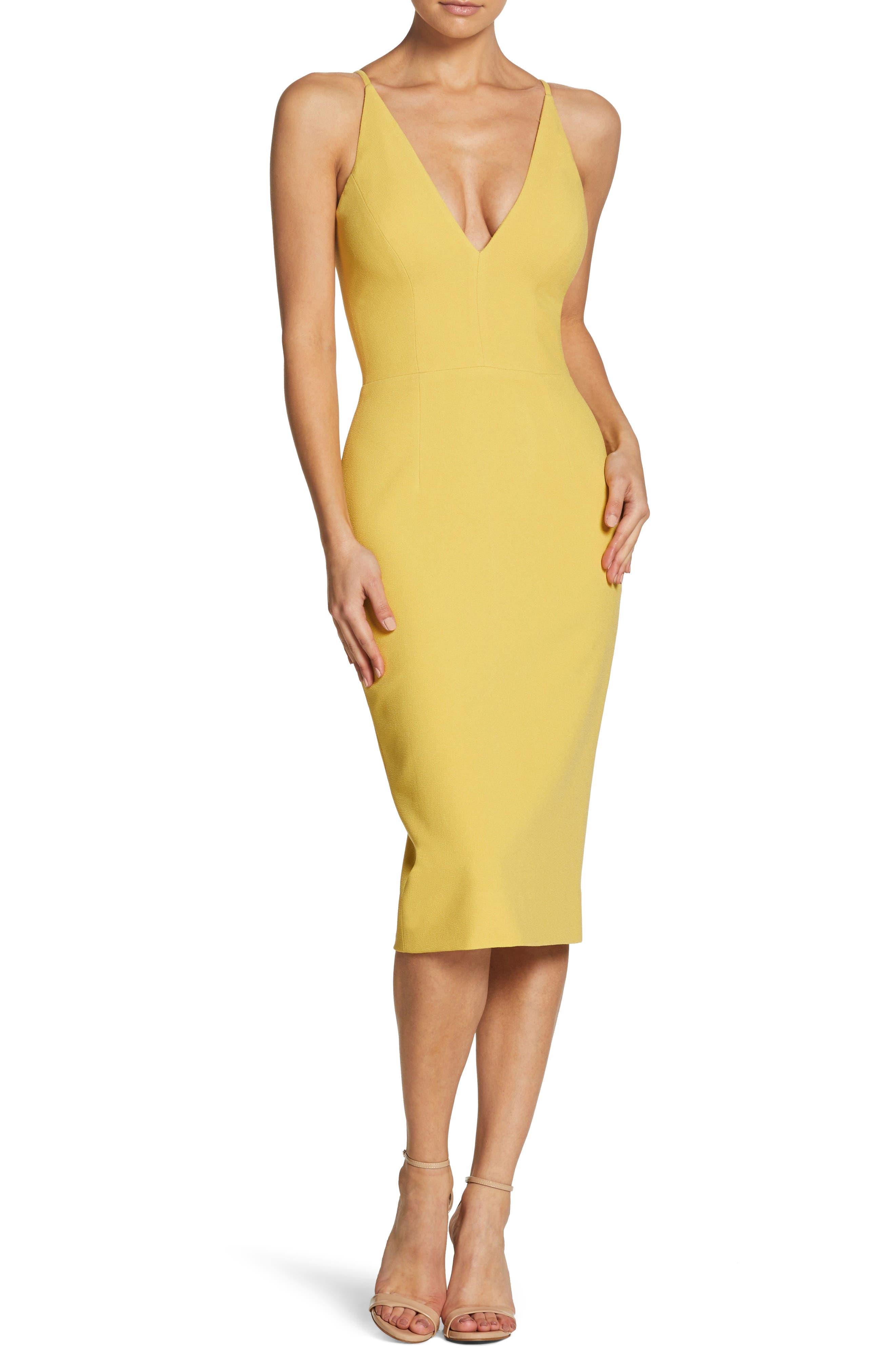 Dress The Population Lyla Crepe Sheath Dress, Yellow
