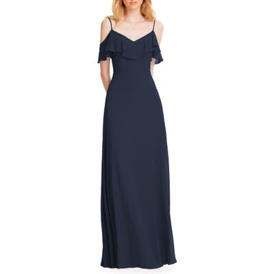 #levkoff Ruffle Shoulder Chiffon Gown, Blue