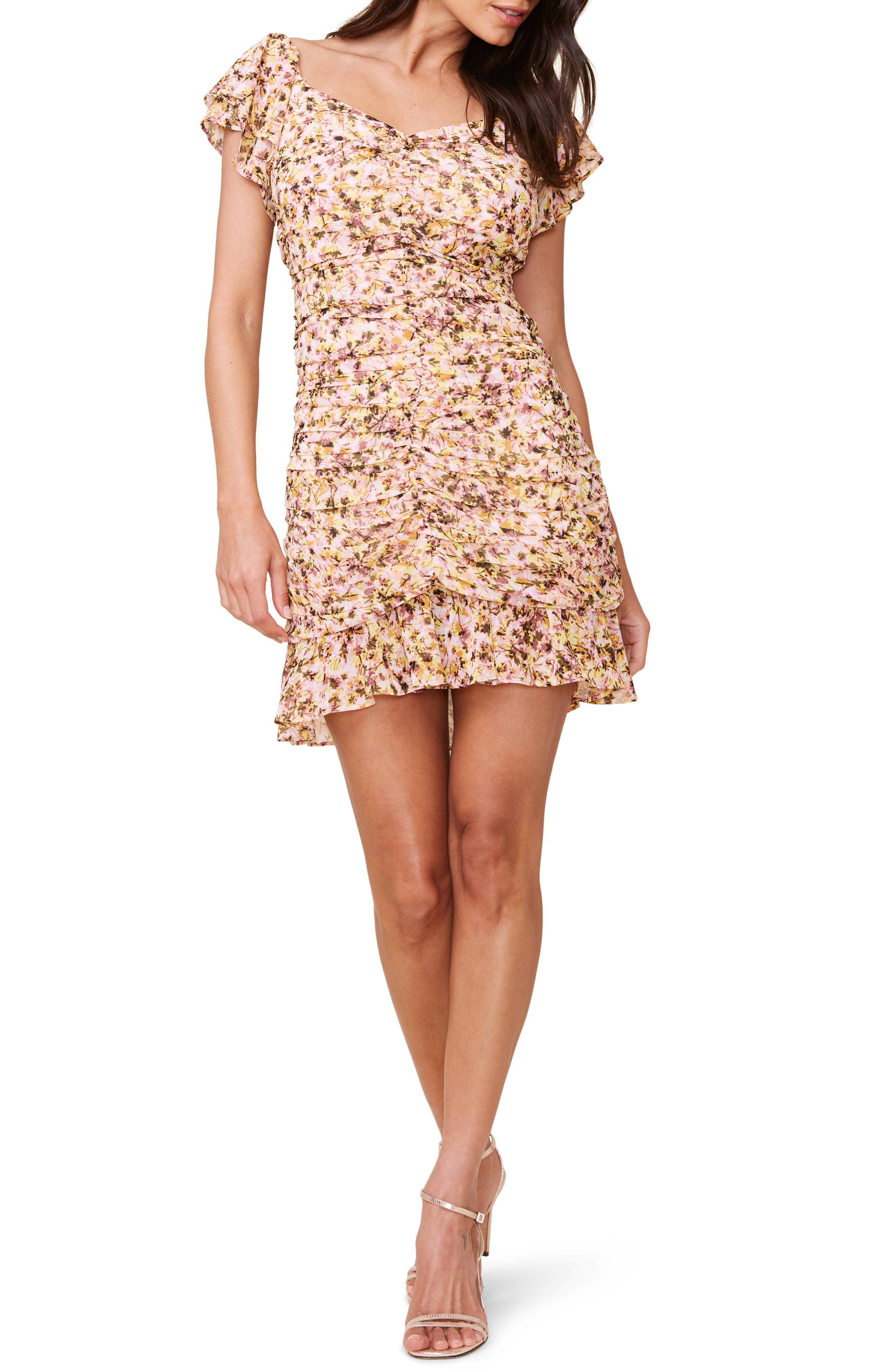 ASTR the Label Floral Ruched Chiffon Minidress | Nordstrom