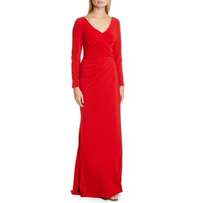 Pronovias Long Sleeve Trumpet Gown, Red