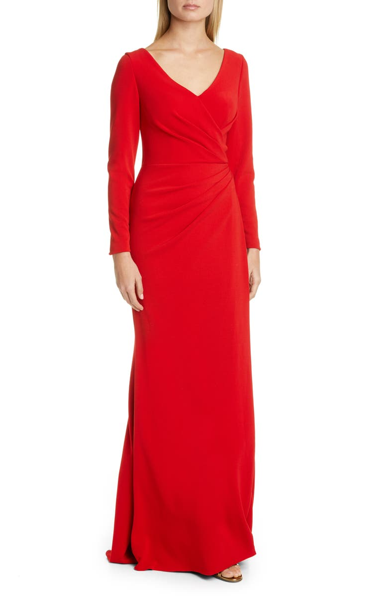 PRONOVIAS Long Sleeve Trumpet Gown, Main, color, SCARLET RED