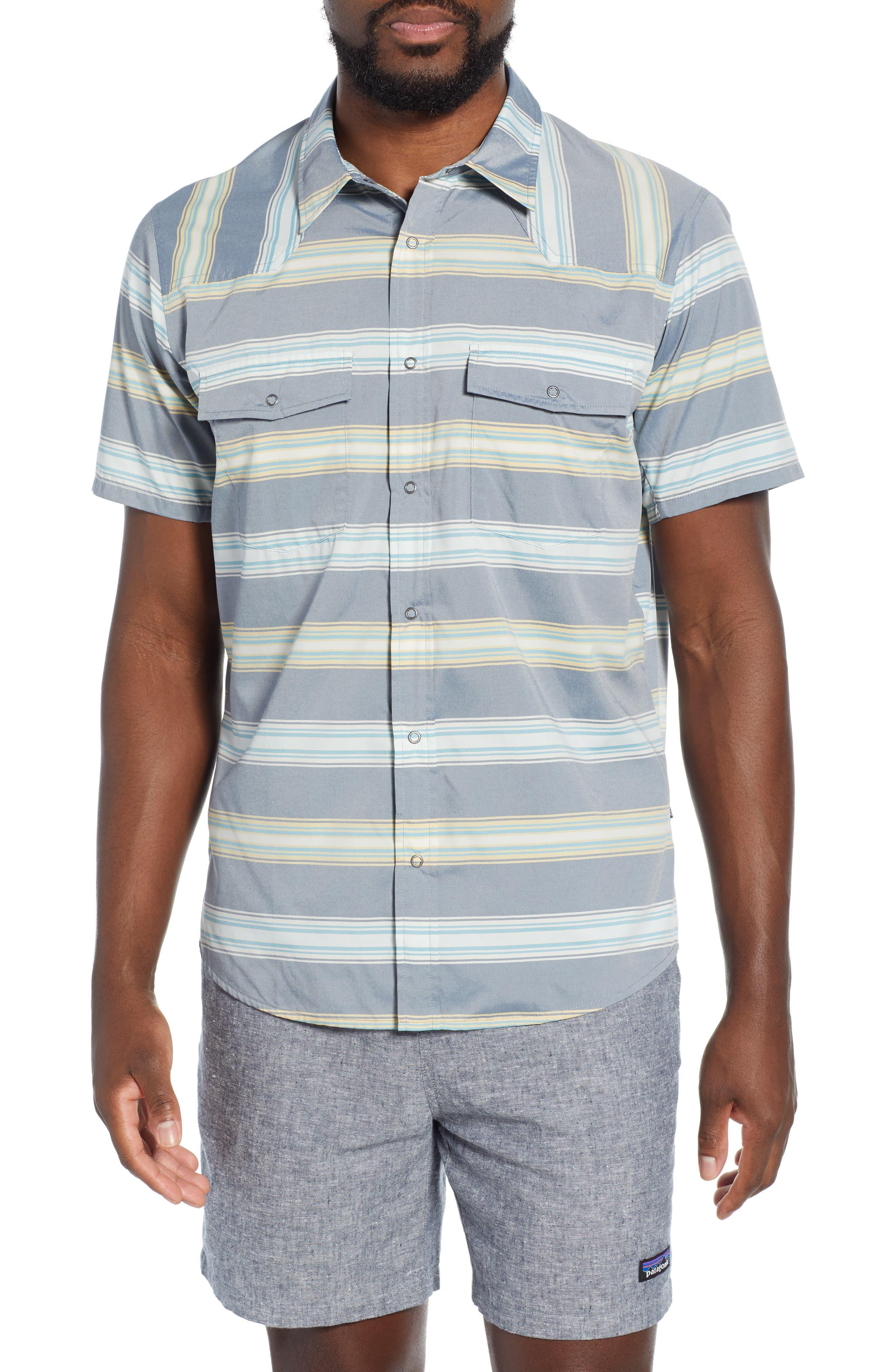 Patagonia Bandito Regular Fit Short Sleeve Sport Shirt, Blue