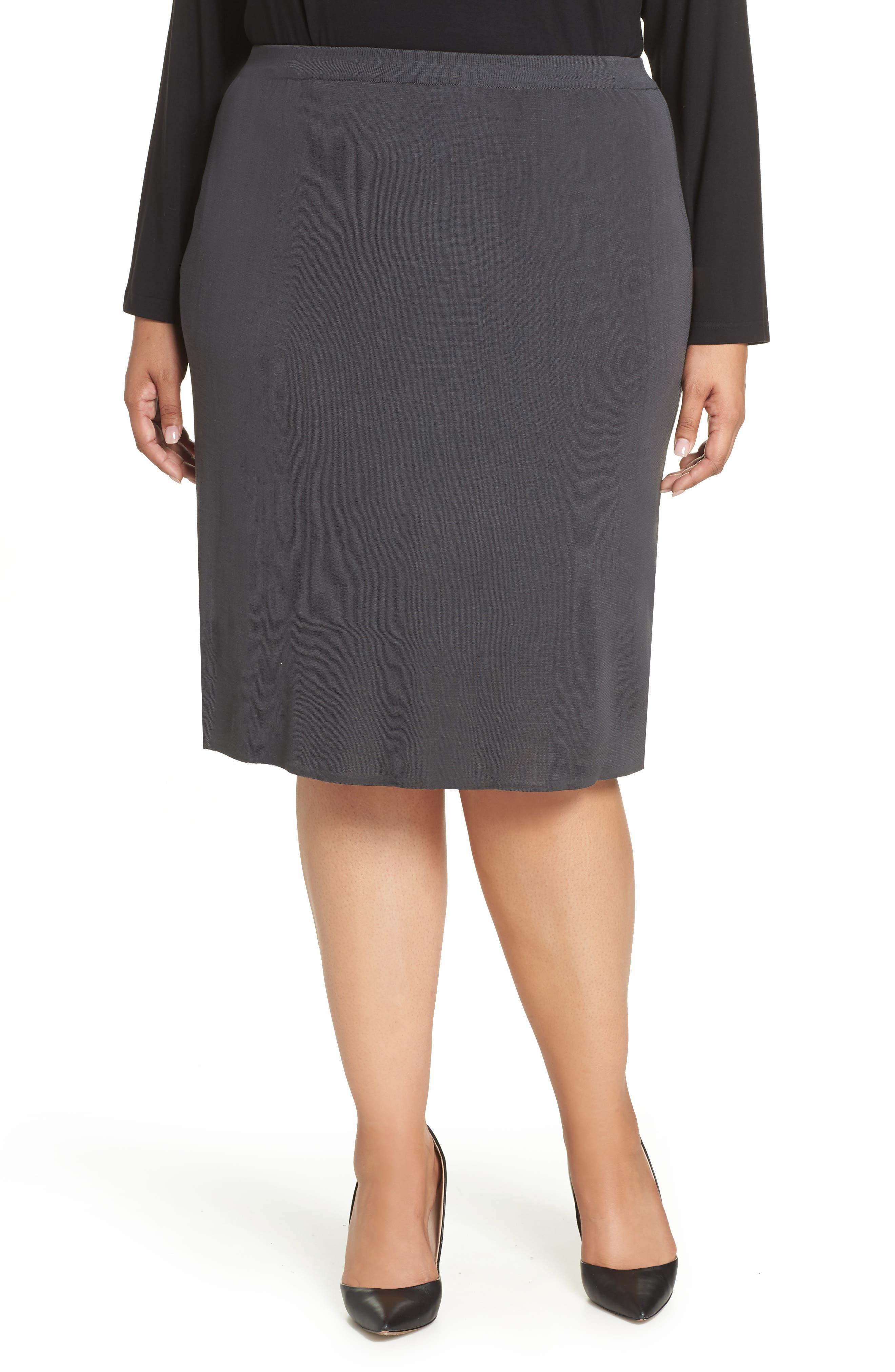 Plus Size Ming Wang Straight Skirt, Grey
