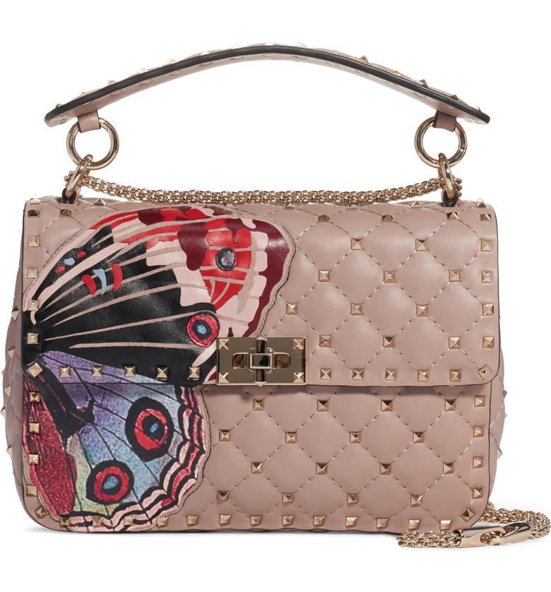 VALENTINO GARAVANI Medium Spike It Leather Shoulder Bag, Main, color, POUDRE