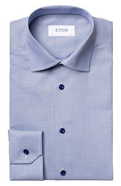 Eton SLIM FIT BLUE TEXTURED SOLID DRESS SHIRT