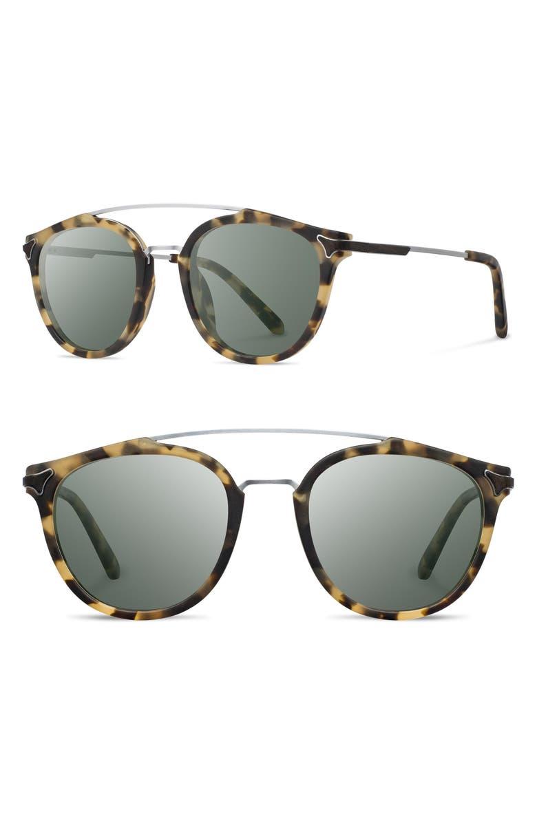 SHWOOD Kinsrow 49mm Acetate & Wood Sunglasses, Main, color, MATTE HAVANA/ G15