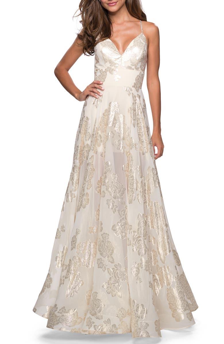 LA FEMME Floral Chiffon Jacquard Evening Dress, Main, color, IVORY/ GOLD