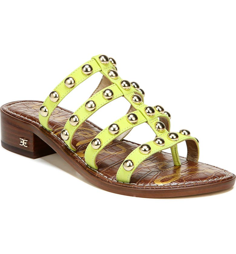 SAM EDELMAN Juniper Studded Gladiator Slide Sandal, Main, color, LIME COCKTAIL LEATHER