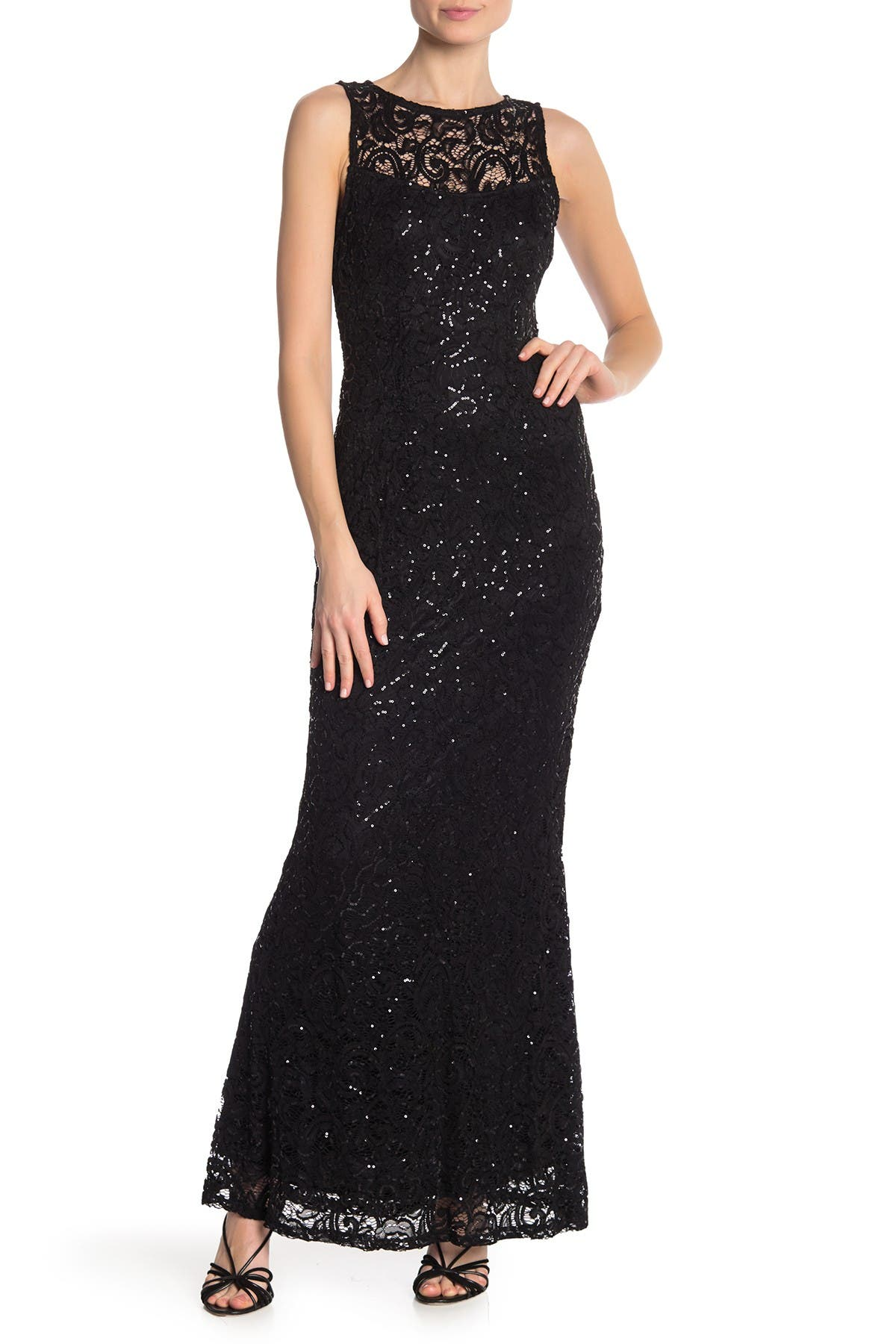 Image of Marina Sequin Lace Sleeveless Maxi Dress