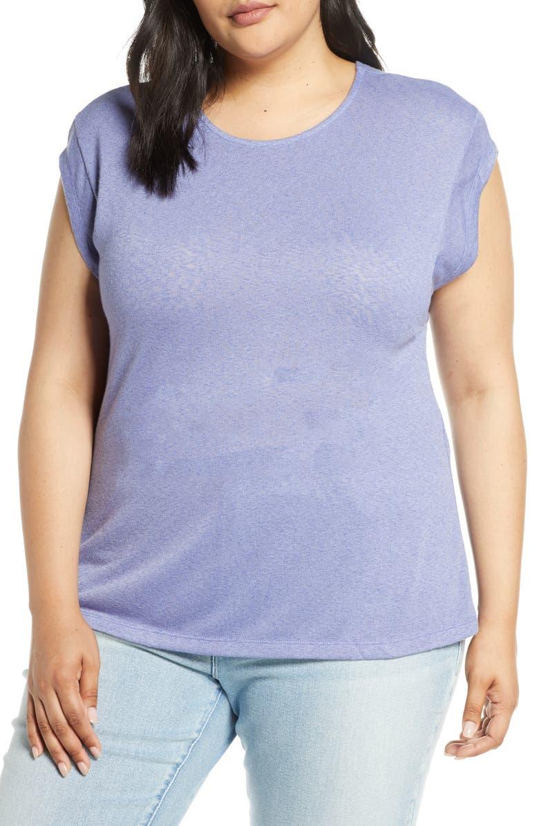 BOBEAU Meg Cap Sleeve Ribbed Jersey Tee, Main, color, LAVENDER VIOLET- SOLID