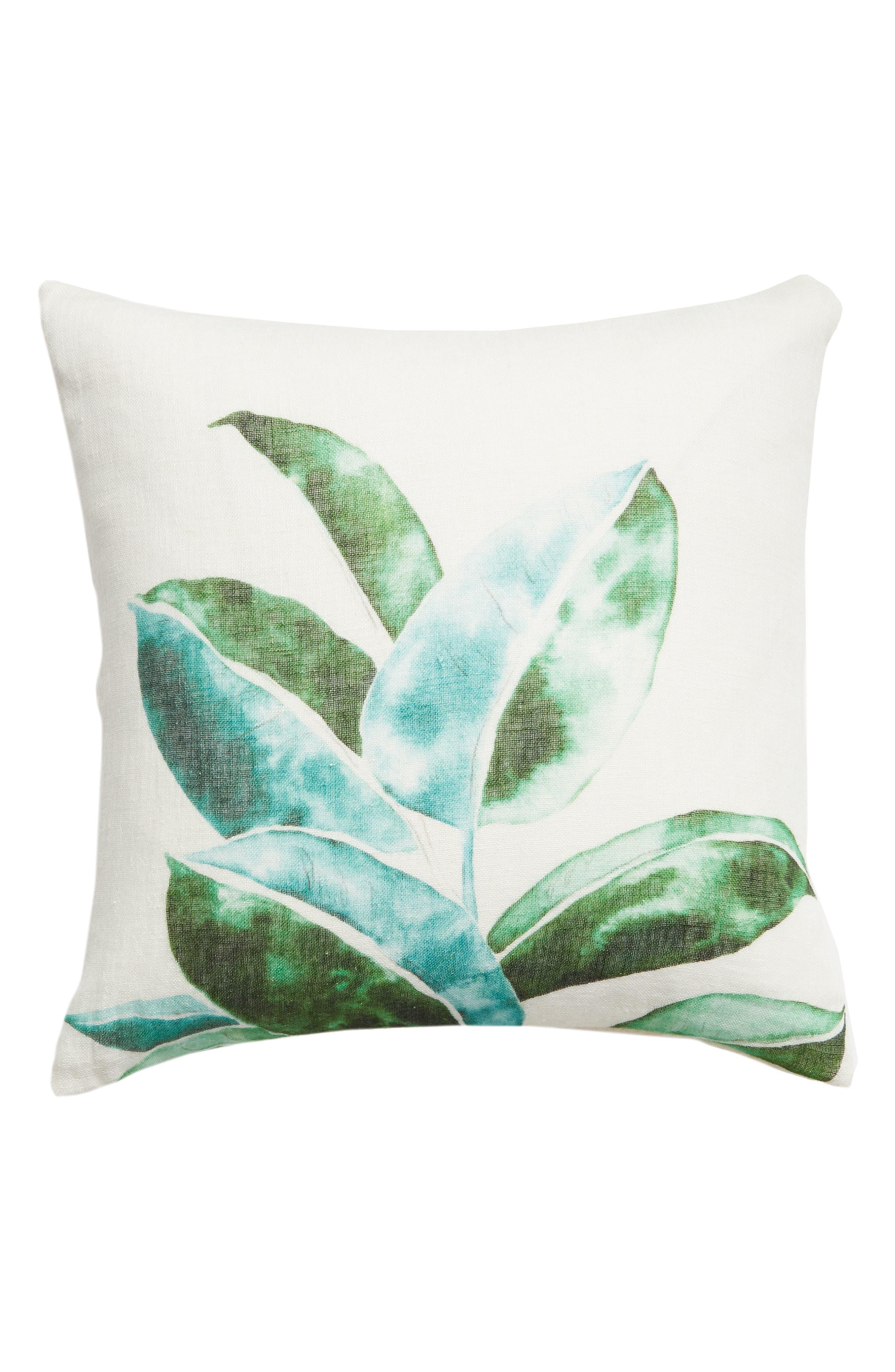 ,                             Leaf Print Accent Pillow,                             Main thumbnail 1, color,                             GREEN BRONZE MULTI