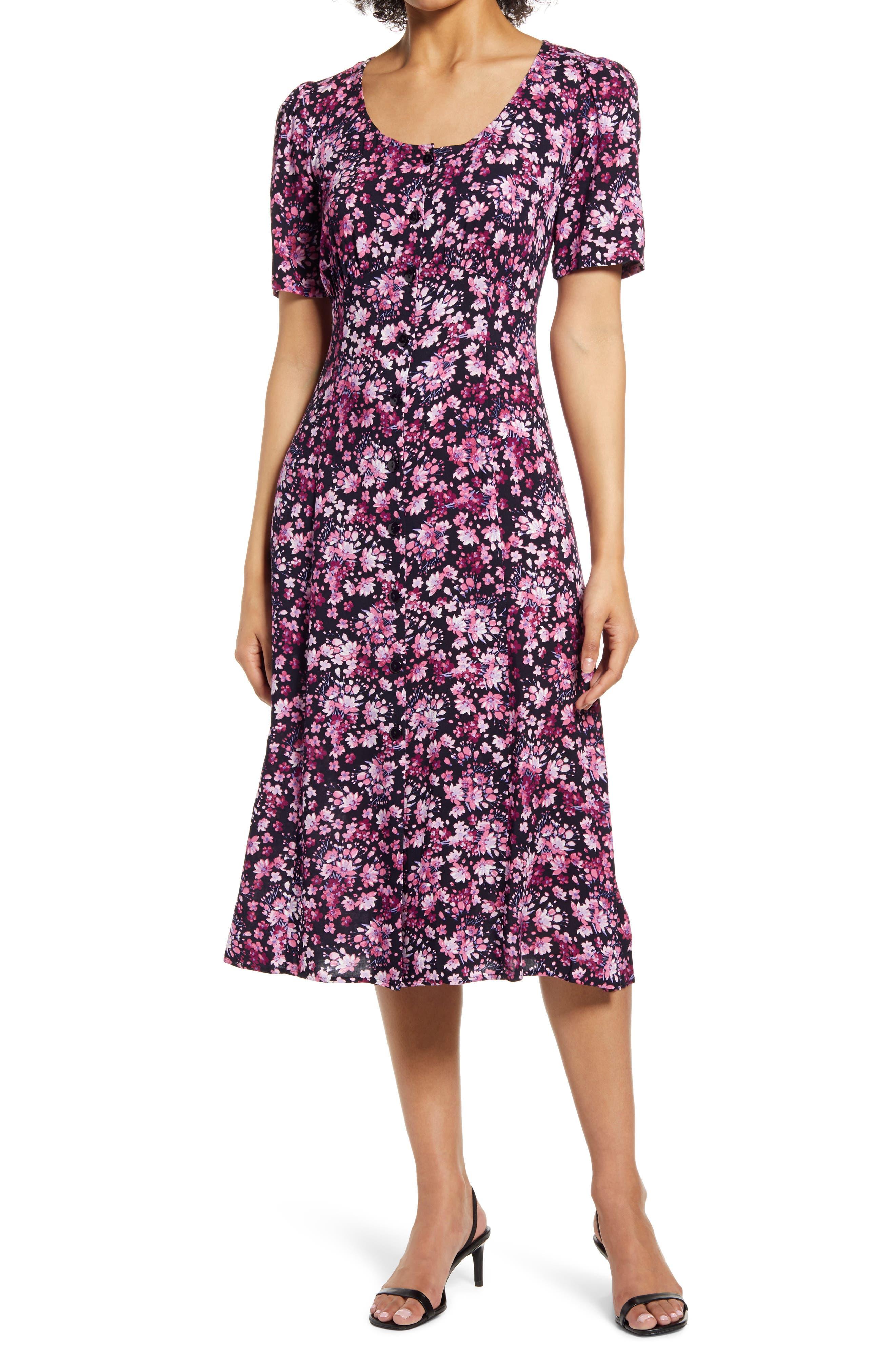 Floral Button-Up Midi Dress