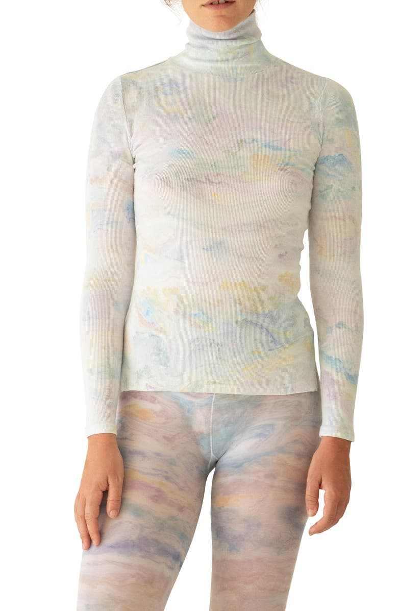 KKCO Marbled Dye Jersey Turtleneck Sweater, Main, color, MARBLE