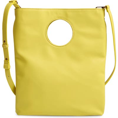 Malibu Skye Circle Cutout Faux Leather Tote - Yellow
