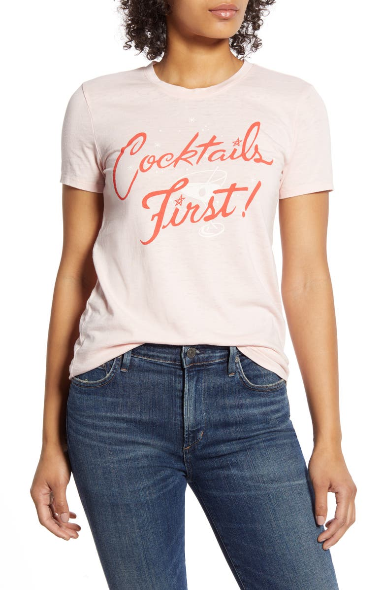 LUCKY BRAND Cocktails First Graphic Tee, Main, color, CHALK PINK