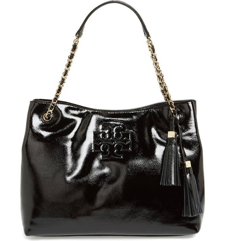 TORY BURCH 'Thea' Patent Chain Slouchy Tote, Main, color, 001