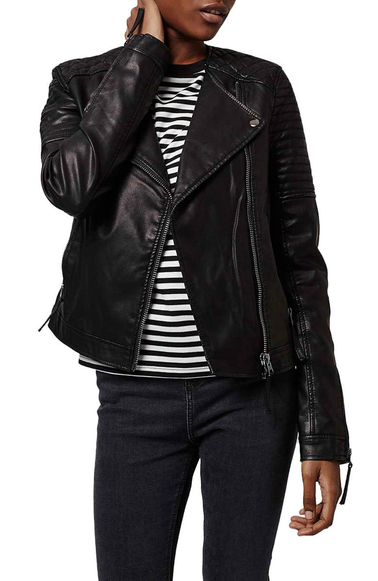 TOPSHOP Quilted Faux Leather Biker Jacket, Main, color, 001