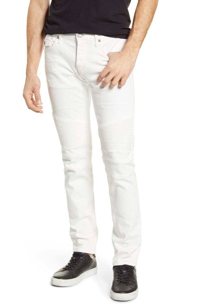 TRUE RELIGION BRAND JEANS Rocco Biker Extra Slim Fit Jeans, Main, color, WHITE