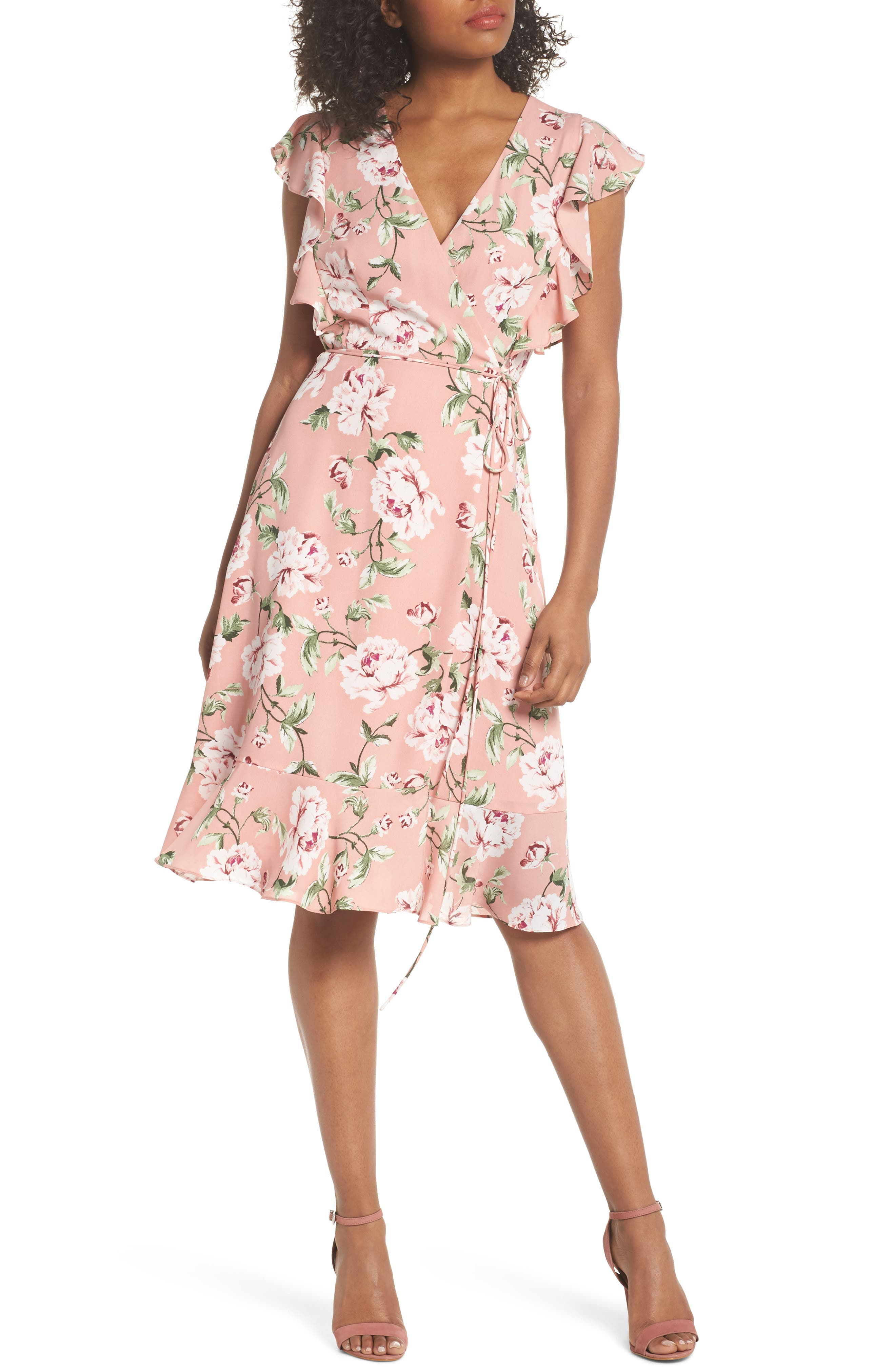 Charles Henry Ruffle Sleeve Floral Wrap Dress, Pink