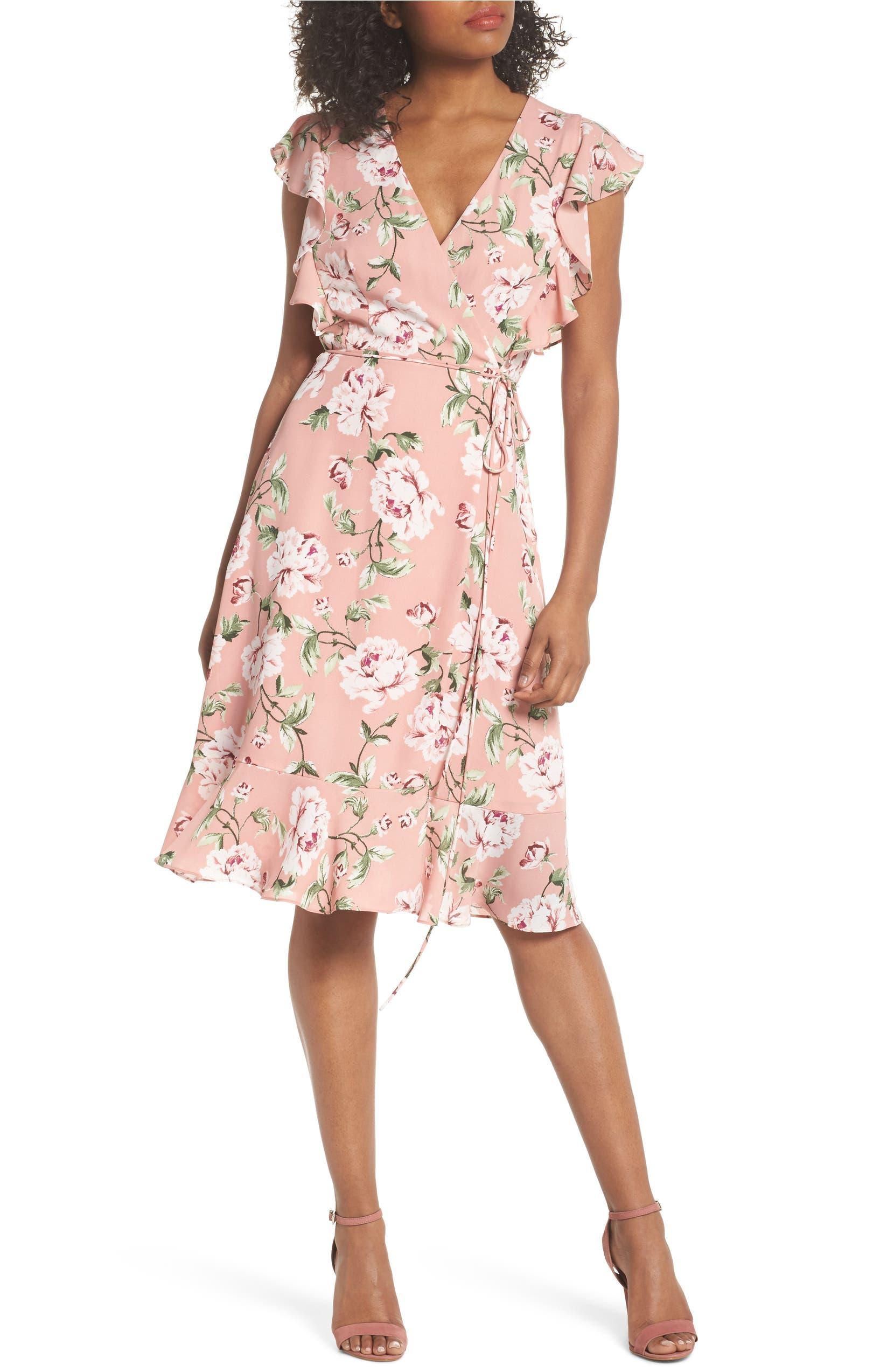 11e8dd2a5179 Charles Henry Ruffle Sleeve Floral Wrap Dress (Regular & Petite) | Nordstrom