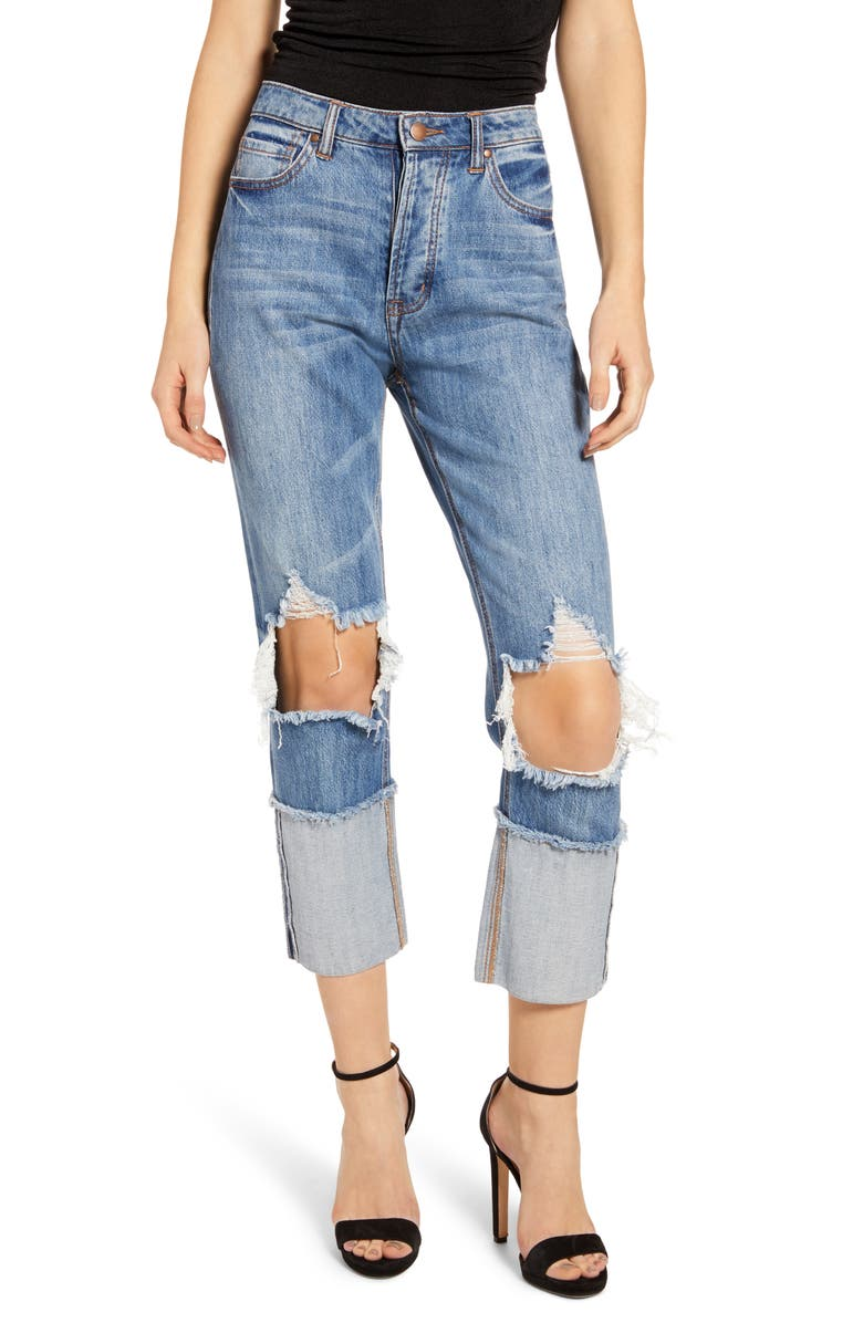 AFRM Dylan Ripped High Waist Crop Jeans Sea