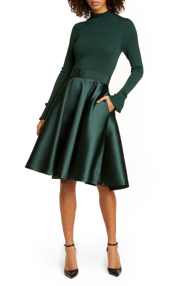 TED BAKER LONDON Zadi Long Sleeve Fit & Flare Dress, Main, color, DARK GREEN