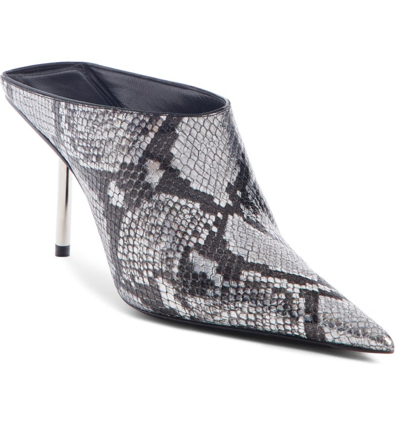 BALENCIAGA Snake Embossed Pointed Toe Mule, Main, color, SILVER SNAKESKIN