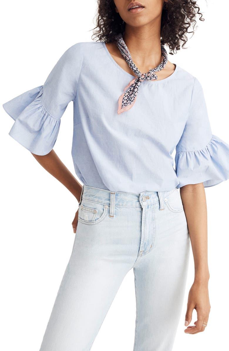MADEWELL Ruffle Sleeve Top, Main, color, 400