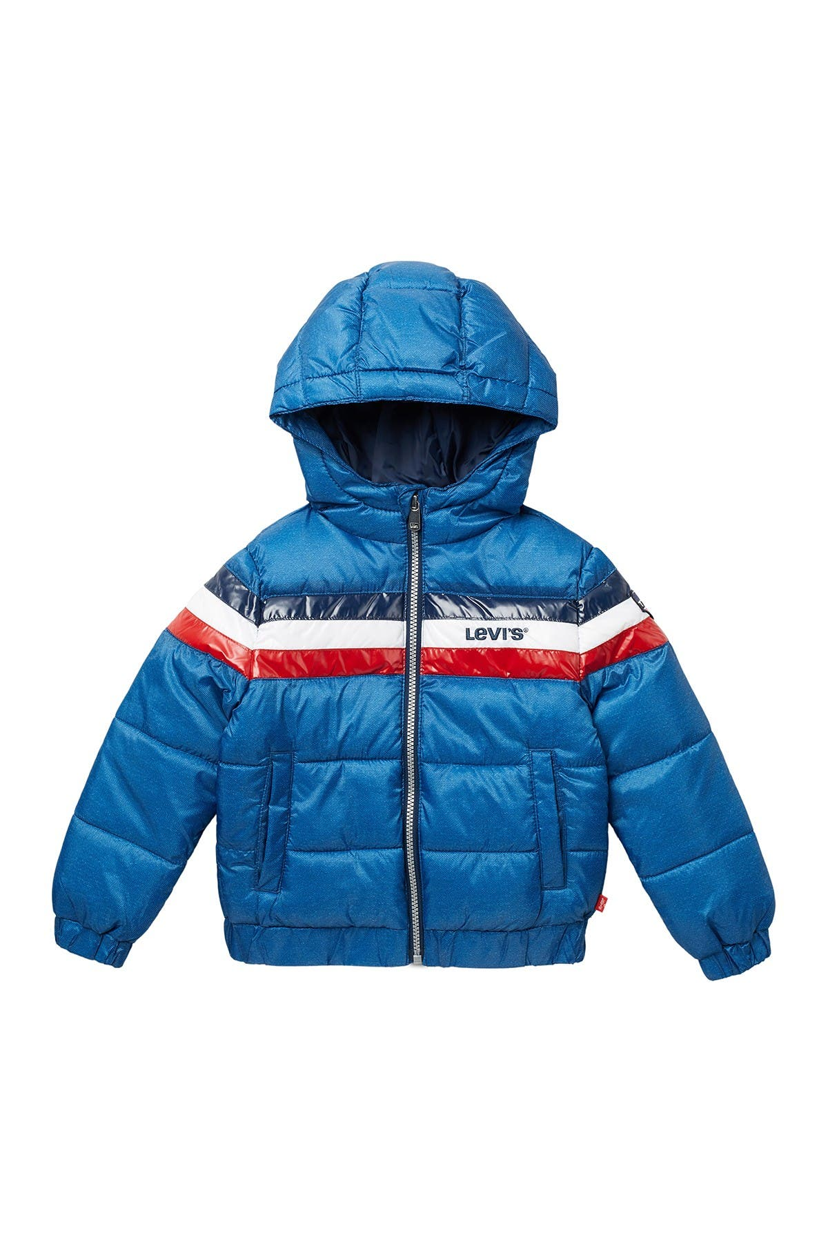 Image of Levi's Colorblock Stripe Hooded Puffer Jacket