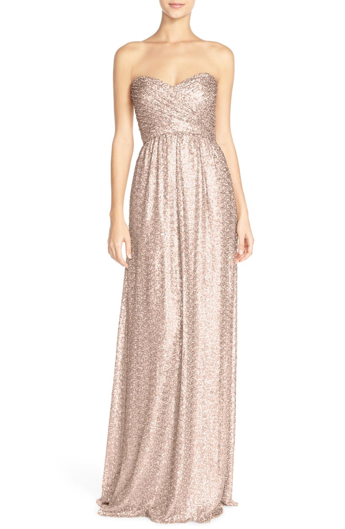 ,                             'London' Sequin Tulle Strapless Column Gown,                             Main thumbnail 13, color,                             690