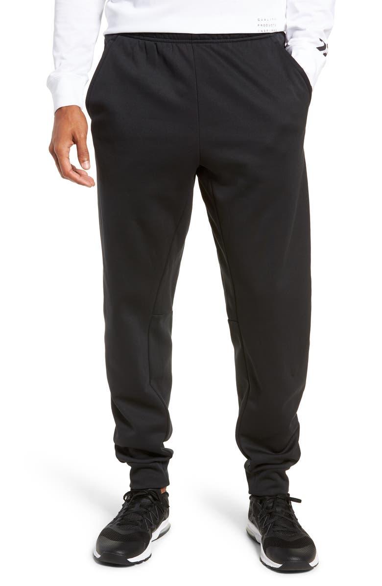 NIKE Therma Tapered Slim Leg Pants, Main, color, BLACK/ WHITE