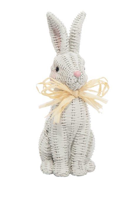 Transpac - Large White Mockwicker Bunny