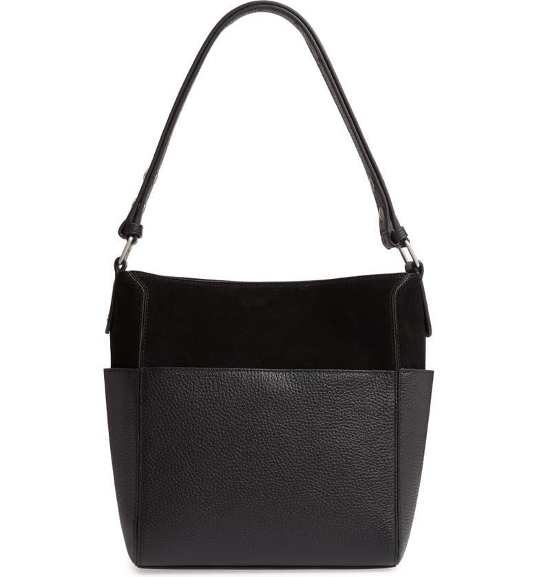 TREASURE & BOND Campbell Leather & Suede Bucket Bag, Main, color, 001