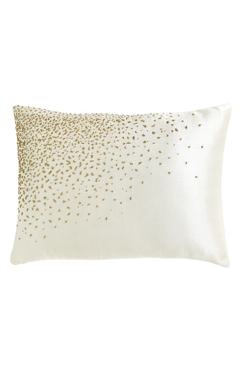 DONNA KARAN NEW YORK Aura Beaded Accent Pillow, Main, color, IVORY