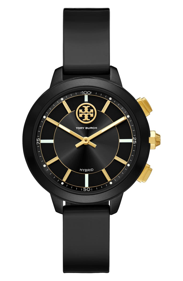 TORY BURCH Collins Hybrid Rubber Strap Watch, 38mm, Main, color, 001