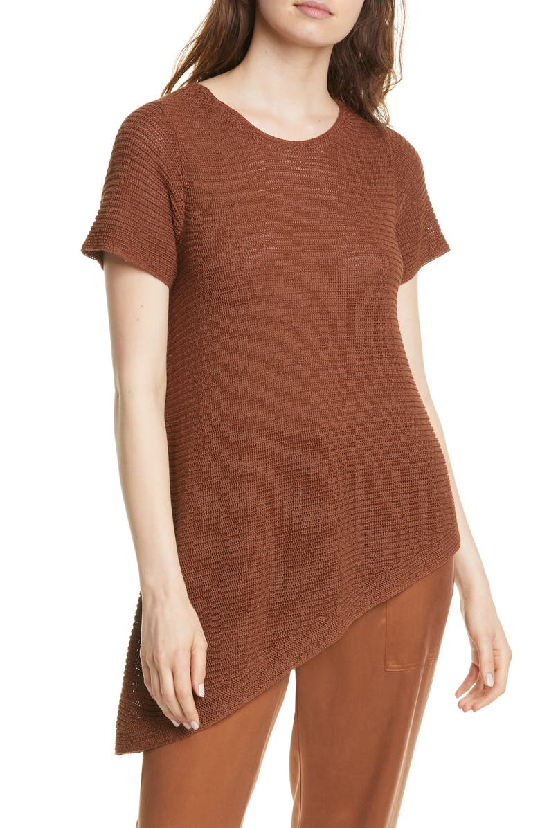 EILEEN FISHER Asymmetrical Tunic, Main, color, NUTMEG